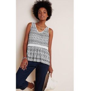 Anthropologie Cammie Embroidered Peplum Top
